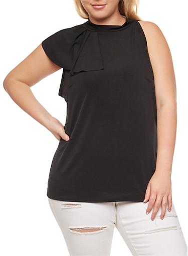 Plus Size Side Ruffle Sleeveless Top,BLACK,large