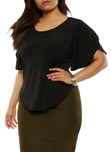 Plus Size Round Hem Top,BLACK,large
