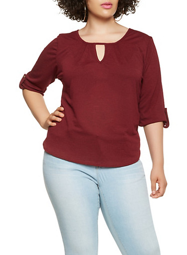 Plus Size Tabbed Sleeve Keyhole Top,WINE,large
