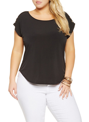 Plus Size Shoulder Button Detail Top,BLACK,large