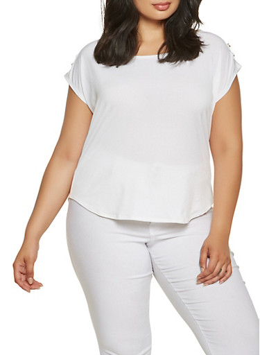 Plus Size Shoulder Button Detail Top,IVORY,large