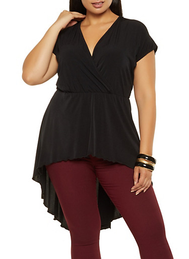 Plus Size Faux Wrap High Low Peplum Top,BLACK,large