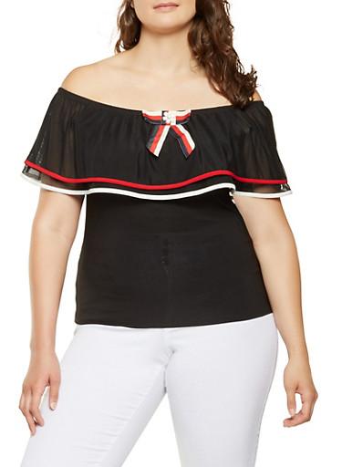 Plus Size Off the Shoulder Top,BLACK,large