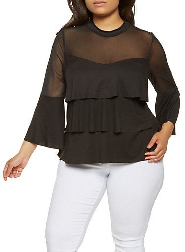 Plus Size Mesh Yoke Tiered Top,BLACK,large