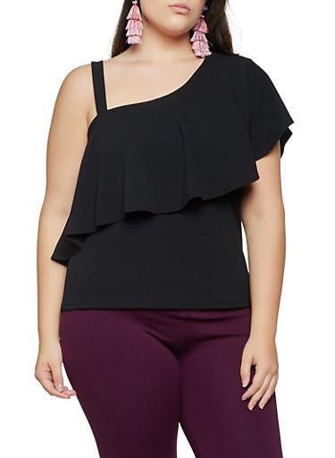Plus Size Ruffled One Shoulder Top,BLACK,large