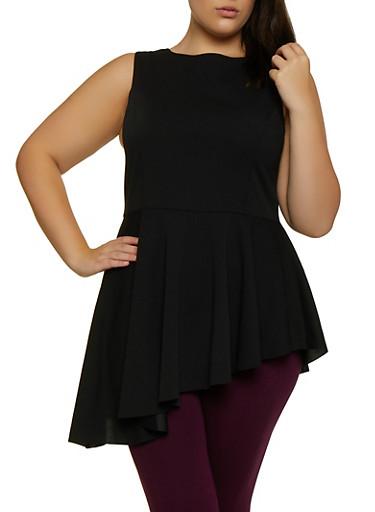 Plus Size Sleeveless Crepe Peplum Top,BLACK,large