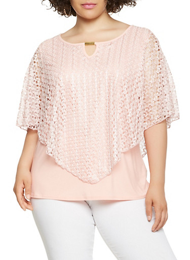 Plus Size Lace Overlay Top,BLUSH,large