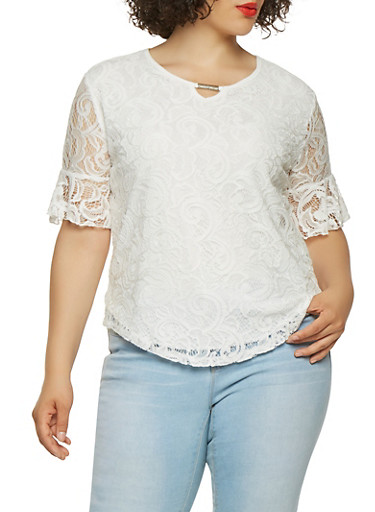 Plus Size Bell Sleeve Lace Top,WHITE,large