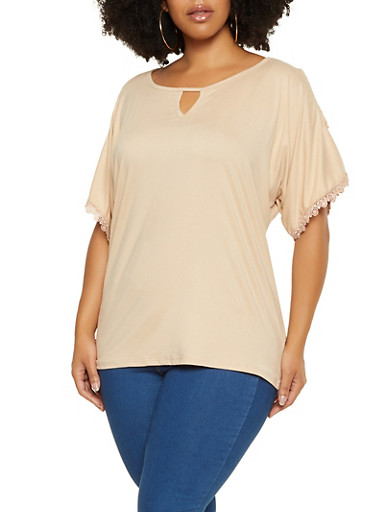 Plus Size Cut Out Sleeve Tee,KHAKI,large