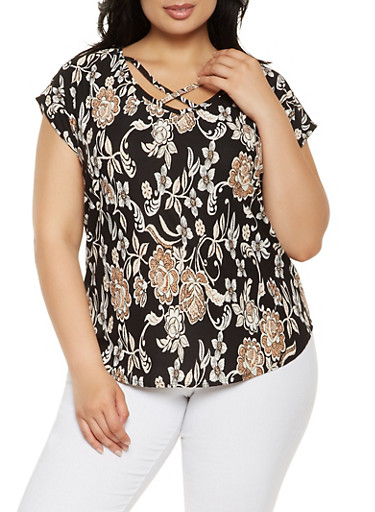Plus Size Caged Floral Top,BLACK,large