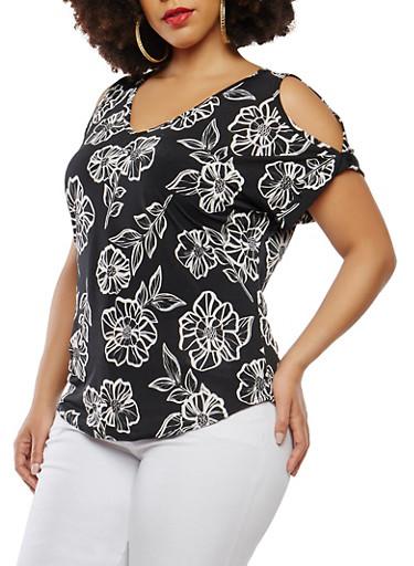 Plus Size Printed Cold Shoulder Top,BLACK,large