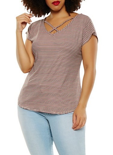 Plus Size Striped Soft Knit Tee,PINK,large