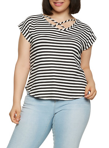 Plus Size Striped Tee with Caging,BLACK,large