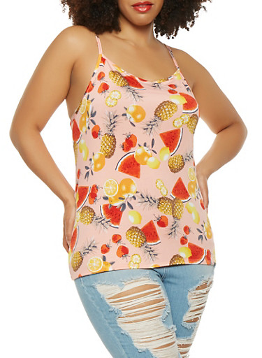 Plus Size Fruit Print Tank Top,PINK,large