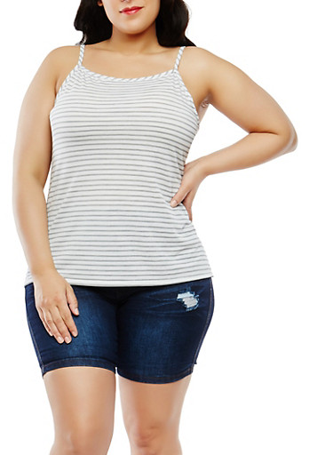 Plus Size Striped Tank Top,IVORY,large