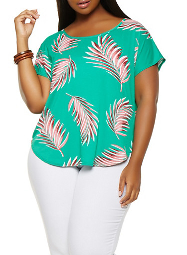 Plus Size Fern Print Textured Top,GREEN,large