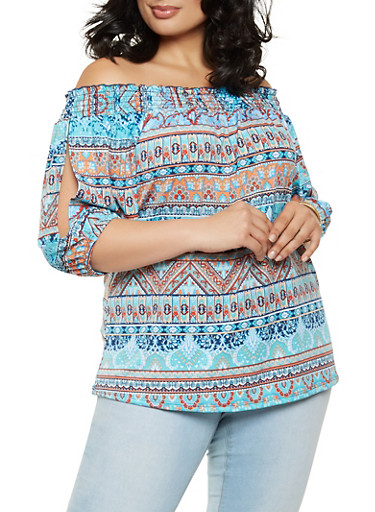 Plus Size Smocked Off the Shoulder Paisley Top,RYL BLUE,large