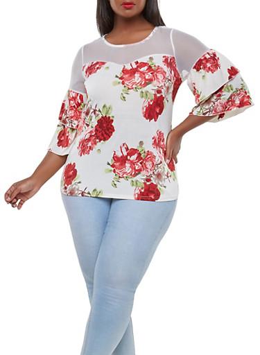 Plus Size Mesh Yoke Floral Top,WHITE,large