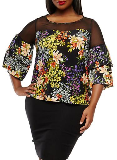 Plus Size Mesh Yoke Floral Top,BLACK,large