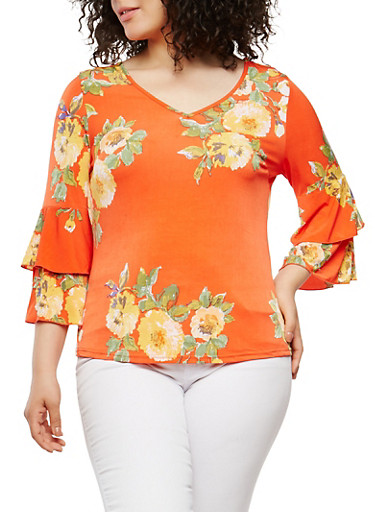 Plus Size Floral Tiered Sleeve Top,RED,large