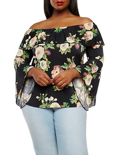 Plus Size Floral Bell Sleeve Off The Shoulder Top,BLACK,large