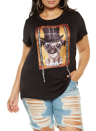 Plus Size Studded Graphic Tee,BLACK,large