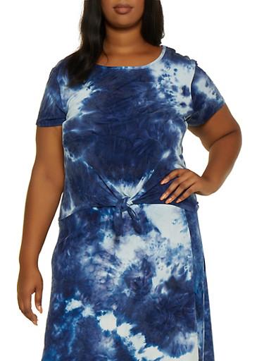 Plus Size Soft Knit Tie Dye Top,NAVY,large