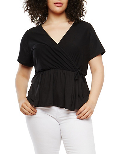 Plus Size Solid Faux Wrap Top,BLACK,large