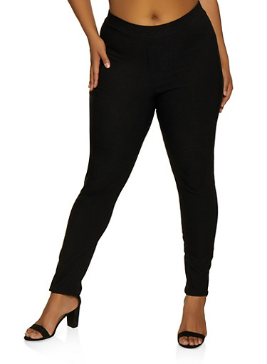 Plus Size Pull On Stretch Dress Pants,BLACK,large