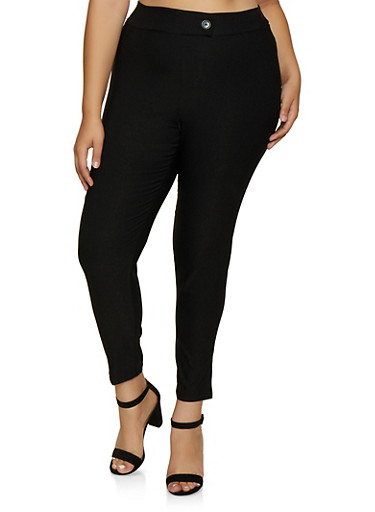 Plus Size Tabbed Button Dress Pants