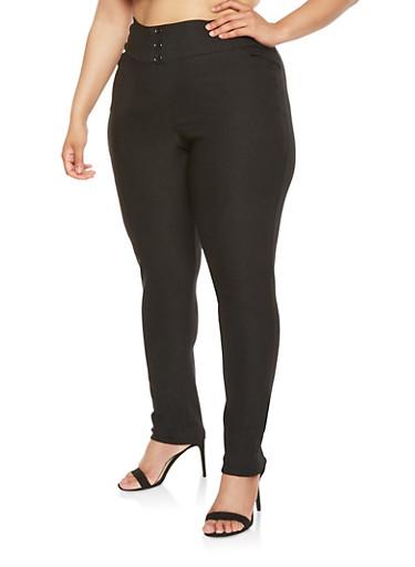 Plus Size Stretch Dress Pants,BLACK,large