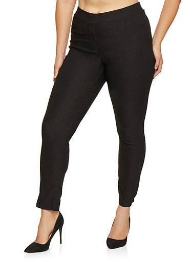 Plus Size Pull On Stretch Pants,BLACK,large