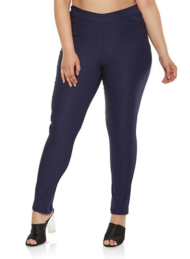 Plus Size Solid Stretch Pants,NAVY,large