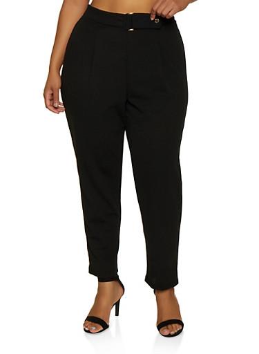 Plus Size Crepe Knit Pants,BLACK,large