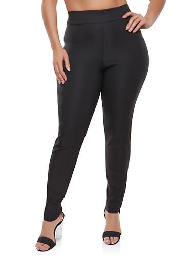 Plus Size Stretch Pants,BLACK,large