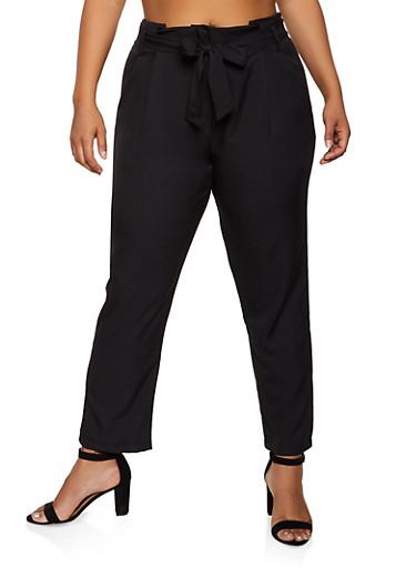 Plus Size Tie Button Front Pants,BLACK,large