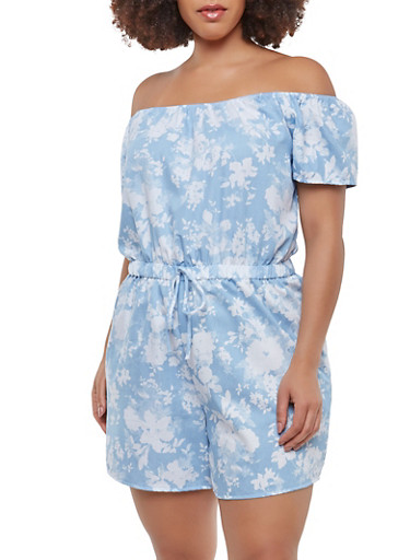 Plus Size Floral Off the Shoulder Romper,BABY BLUE,large