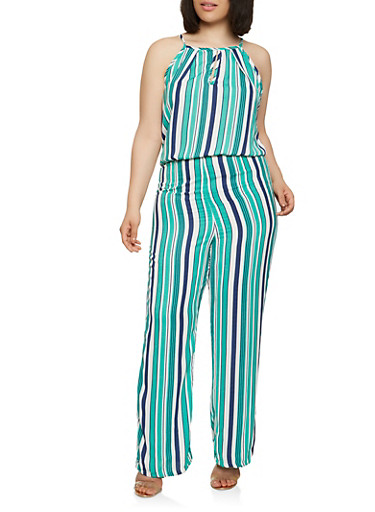 Plus Size Striped Jumpsuit,KELLY GREEN,large