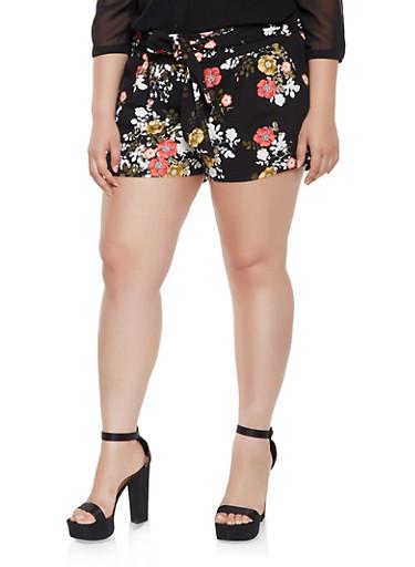Plus Size Floral Tie Waist Shorts,BLACK,large
