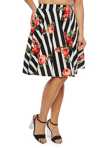 Plus Size Striped Floral Skater Skirt,BLACK,large