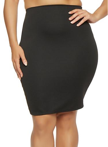 Plus Size Textured Pencil Skirt,BLACK,large