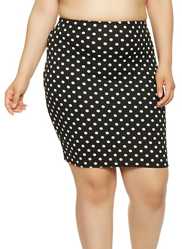 Plus Size Polka Dot Pencil Skirt,BLACK,large
