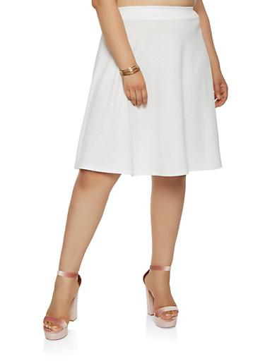 Plus Size Solid Skater Skirt,IVORY,large
