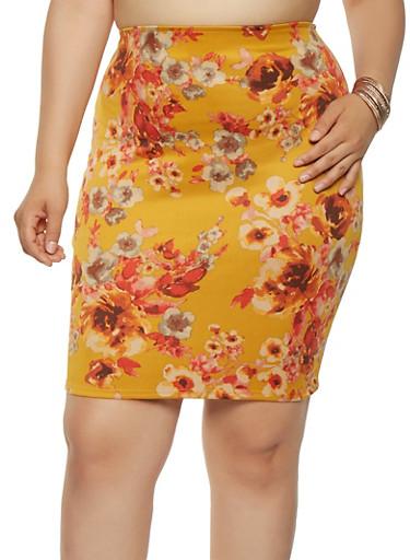 Plus Size Floral Scuba Midi Skirt,MUSTARD,large