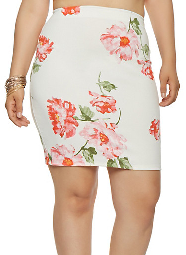 Plus Size Floral Stretch Pencil Skirt,IVORY,large