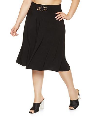 Plus Size Metallic Detail Skater Skirt,BLACK,large