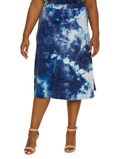 Plus Size Tie Dye Skater Skirt,NAVY,large