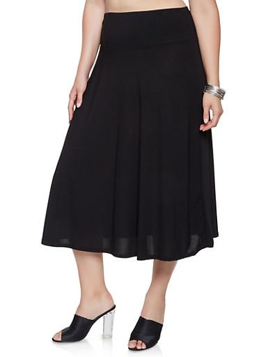 Plus Size Crepe Knit Midi Skirt,BLACK,large