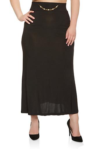 Plus Size Faux Pearl Chain Detail Maxi Skirt,BLACK,large