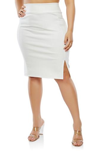 Plus Size Slit Front Skirt,IVORY,large